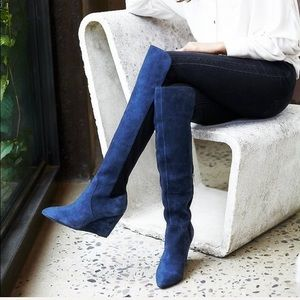 FREE PEOPLE Salina Over Knee BOOTS Blue OTK 8.5
